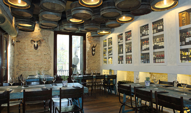 Casa Guinart Restaurants Wine Barrel Ceiling Lamps